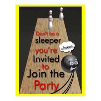 Convites de festas da boliche customizáveis cartoes postais