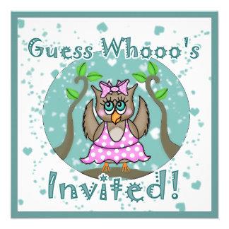 Convites de festas da coruja da bailarina