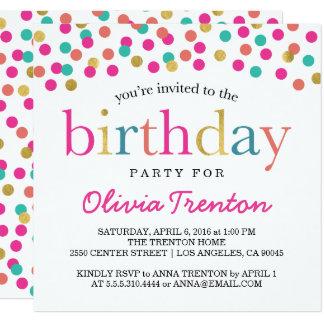 Convites de festas de aniversários coloridos dos