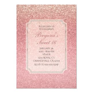 Convites de festas do doce 16 do brilho do rosa do