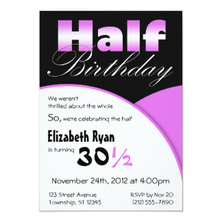 Convites de festas do roxo de Metade-Aniversário