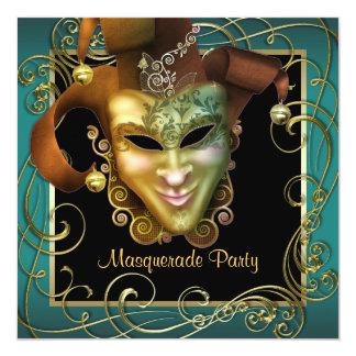 Convites de festas pretos do mascarada do ouro do