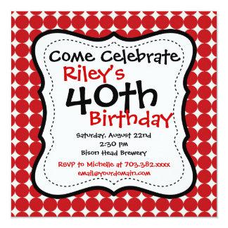 Convites de festas pretos vermelhos do aniversário
