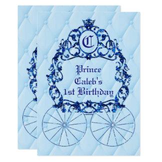 Convites de festas reais azuis da carruagem da