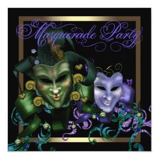 Convites de festas roxos do mascarada do ouro