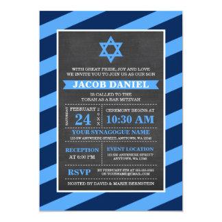 Convites de Mitzvah do bar do quadro das listras