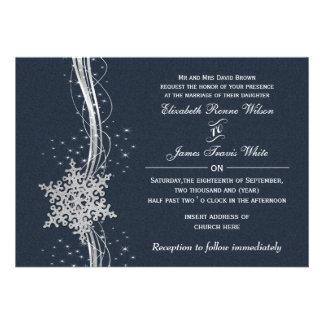 Convites de prata azuis do casamento no inverno