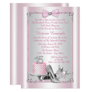 Convites de prata cor-de-rosa de Quinceanera