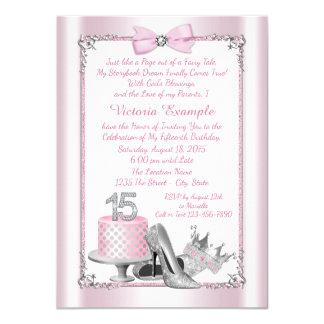 Convites de prata cor-de-rosa do aniversário de