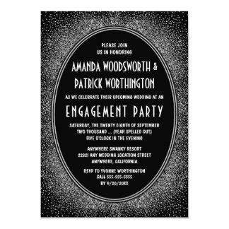 Convites de prata pretos da festa de noivado do