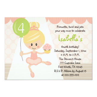 Convites do aniversário da bailarina do cupcake
