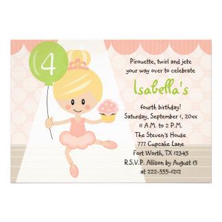 Convites do aniversário da bailarina do cupcake lo