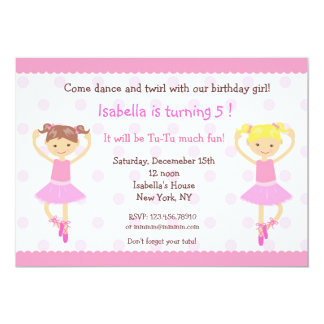 Convites do aniversário da dança do balé da