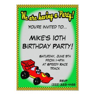 Convites do aniversário do carro de corridas