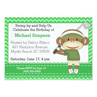 Convites do aniversário do golfe do macaco da