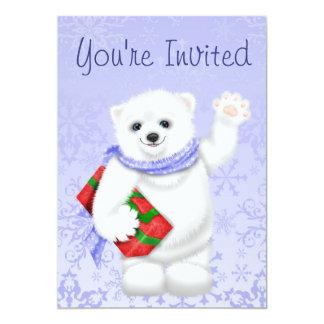 Convites do aniversário do inverno do urso polar convite 12.7 x 17.78cm