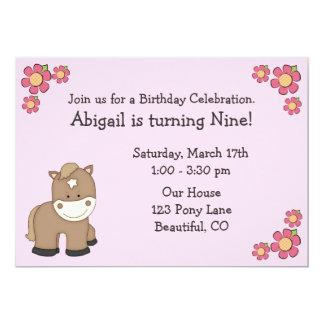 Convites do aniversário do pônei para meninas