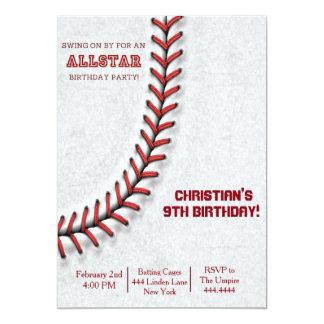 Convites do aniversário do ponto do basebol convite 12.7 x 17.78cm