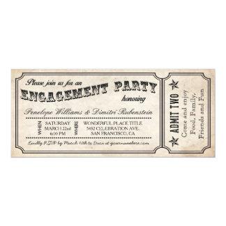 Convites do bilhete do vintage da festa de noivado