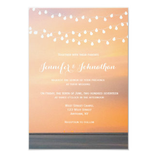 Convites do casamento de praia do por do sol do