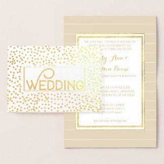 Convites do casamento dos confetes da tipografia cartão metalizado