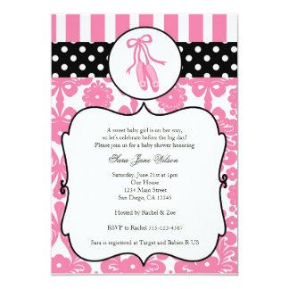 Convites do chá de fraldas do balé da bailarina -