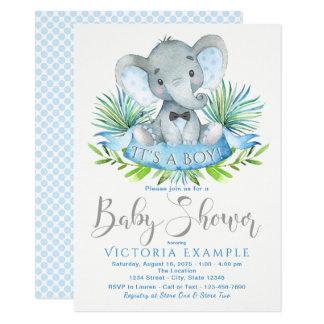 Convites do chá de fraldas do elefante do bebê dos