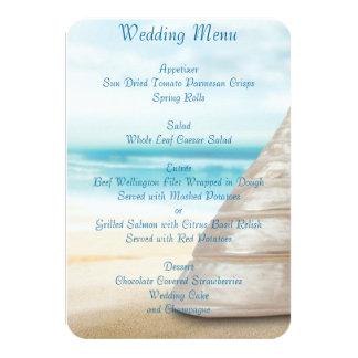 Convites do costume do menu do casamento de praia