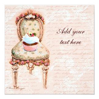 Convites do design do Victorian do cupcake do tea Convite Quadrado 13.35 X 13.35cm