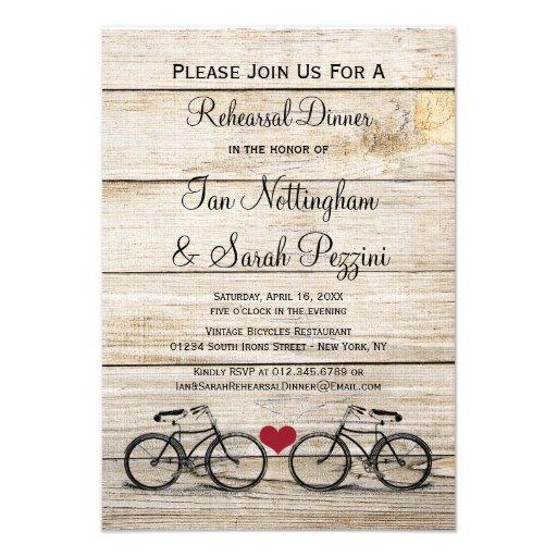 Convites do jantar de ensaio da bicicleta do vinta