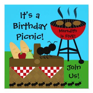 Convites do piquenique do aniversário