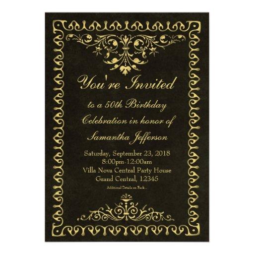 Convites do vintage 50th/Birthday/Party do preto/o