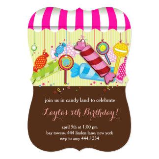 Convites doces do aniversário da loja de Candyland Convite 12.7 X 17.78cm