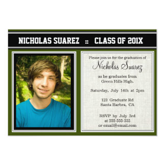 Convites feitos sob encomenda verdes da graduação