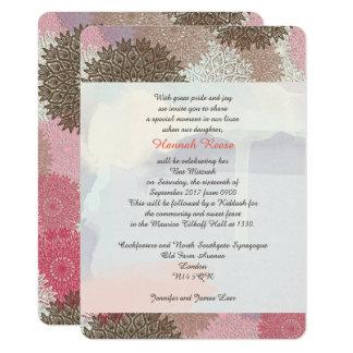 Convites florais de Mitzvah do bastão do bar