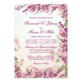 Convites florais do casamento do jardim do vintage