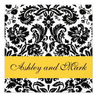 Convites florais pretos amarelos do casamento tema