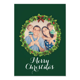 Custom Merry Christmas Wreath Family Photo