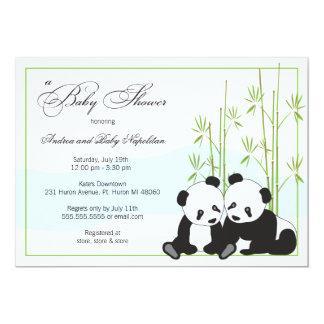 Convites gêmeos do chá de fraldas das pandas |