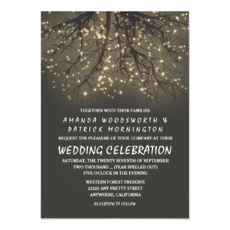Convites iluminados rústicos do casamento do ramo
