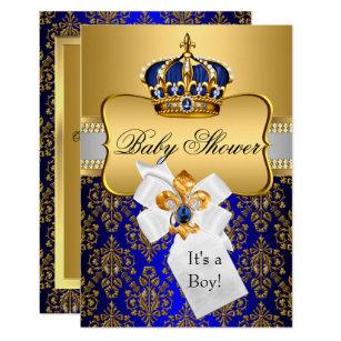 Convites Coroa Do Chá De Fraldas Príncipe Menino Zazzlept