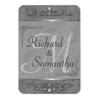 Convites ornamentado cinzentos customizáveis do