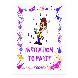 Convites party, para equipar com uma bebida cartões postais