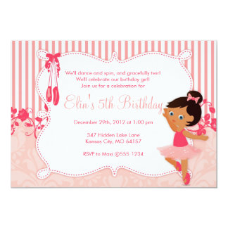 Convites pequenos do aniversário da bailarina - convite 12.7 x 17.78cm