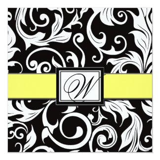 Convites pretos & amarelos do monograma do convite quadrado 13.35 x 13.35cm