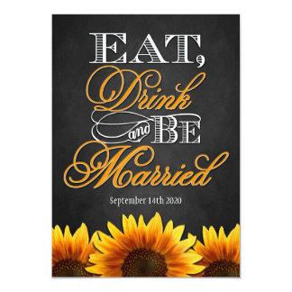 Convites pretos do casamento do girassol do quadro