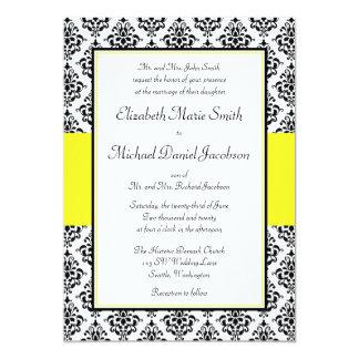 Convites pretos e amarelos do casamento tema