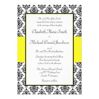 Convites pretos e amarelos do casamento tema damas