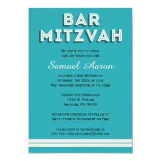 Convites retros de Mitzvah do bar de turquesa