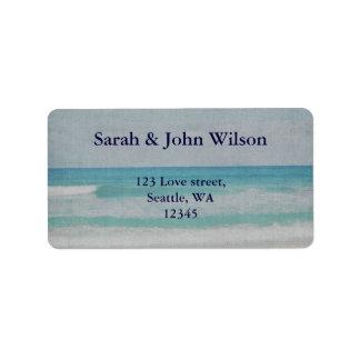 Convites românticos do casamento de praia etiqueta de endereço